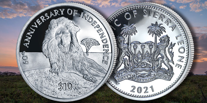 Lion in the Mountains $10 Silver Coin Commemorates 60 Years of Independence of Sierra Leone