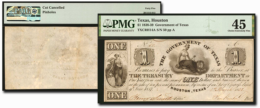 Rare Obsolete Texas Banknote Highlights From Stack's Bowers September CCO Auction - Houston, Government of Texas 1838-39 $1