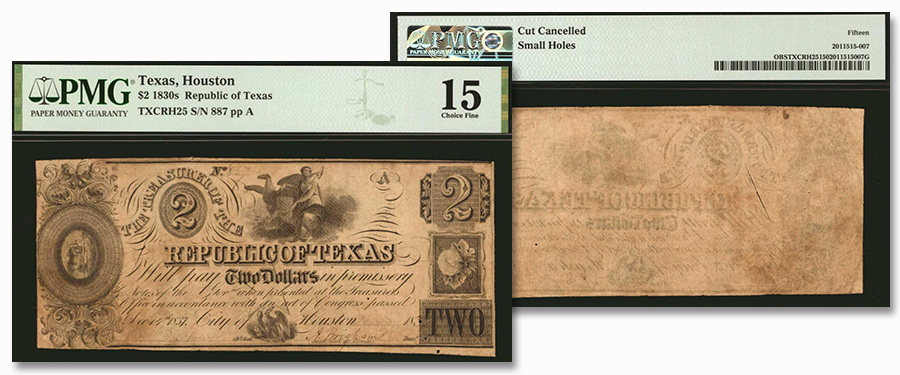Rare Obsolete Texas Banknote Highlights From Stack's Bowers September CCO Auction - 1830s Republic of Texas $2