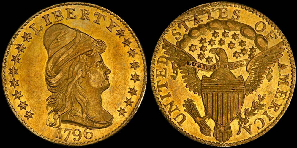 LOT 4165: 1796 $2.50 WITH STARS, PCGS MS62