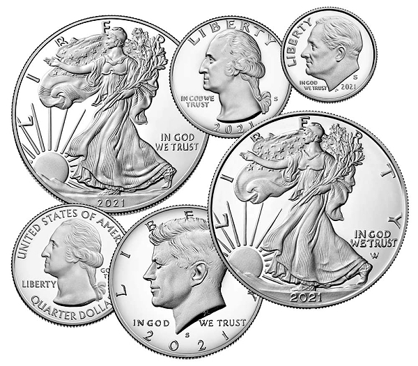 US Mint 2021 Silver Proof Set With American Eagle Coins Avail. Oct. 1