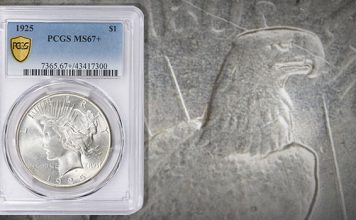 1925 Peace Dollar in MS-67+ Offered by GreatCollections