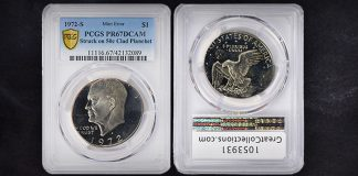 GreatCollections Offering 1972-S Eisenhower Dollar Wrong Planchet Error