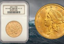 Scarce Brother Jonathan Shipwreck Double Eagle Offered by David Lawrence Rare Coins