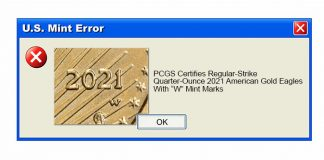 """PCGS Certifies 1/4 oz 2021 Type 2 American Gold Eagle Bullion Coins With """"W"""" Mint Marks"""