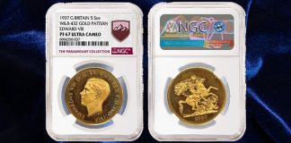 Edward VIII Gold 5 Sovereign Realizes $2.45 Million - New Record for British Coin at Auction